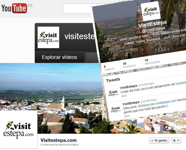 Redes sociales de la web VisitEstepa.com para promocionar el turismo en Estepa