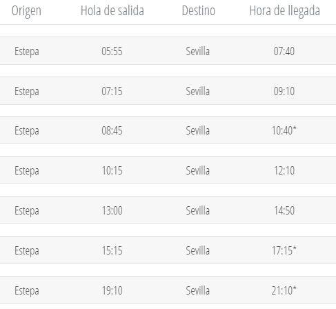 Horario de Autobús de Estepa a Sevilla