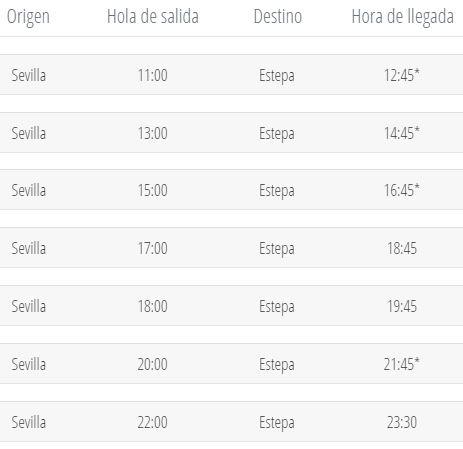 Horario de autobús de Sevilla a Estepa