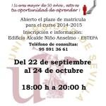 Abierta matriculación para el Aula de la Experiencia de Estepa 2014/2015