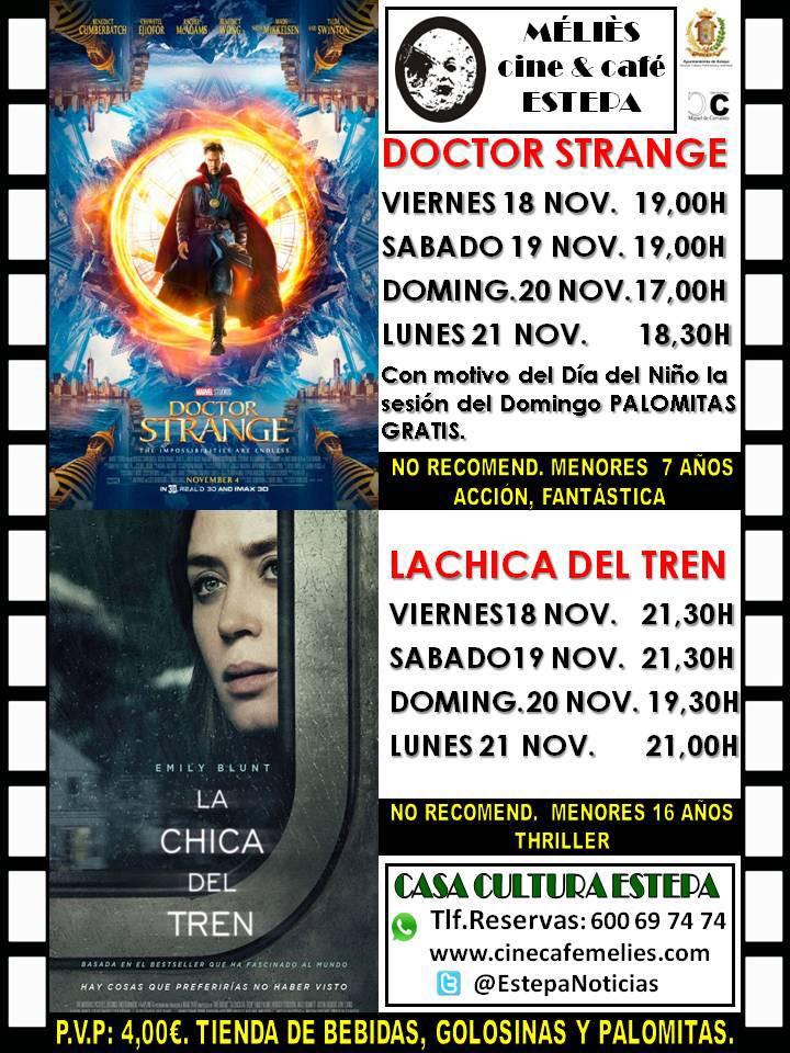 """Cine en Estepa: """"Doctor Strange"""" y """"La chica del tren"""""""