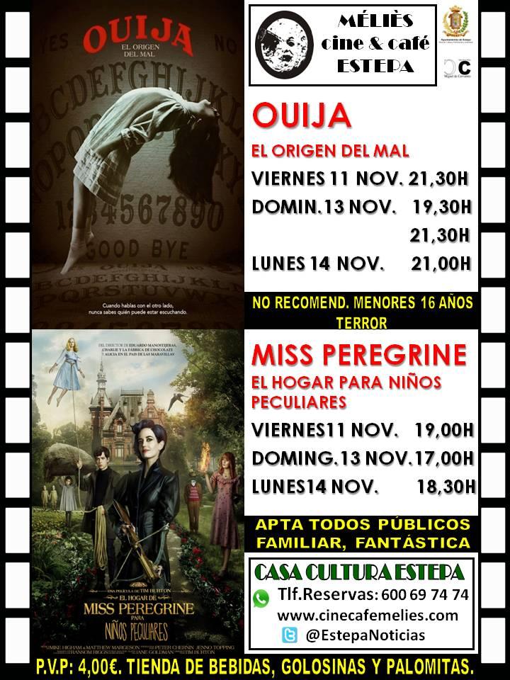 """Cine en Estepa: """"Ouija"""" y """"Miss Peregrine. El hogar para niños peculiares"""""""