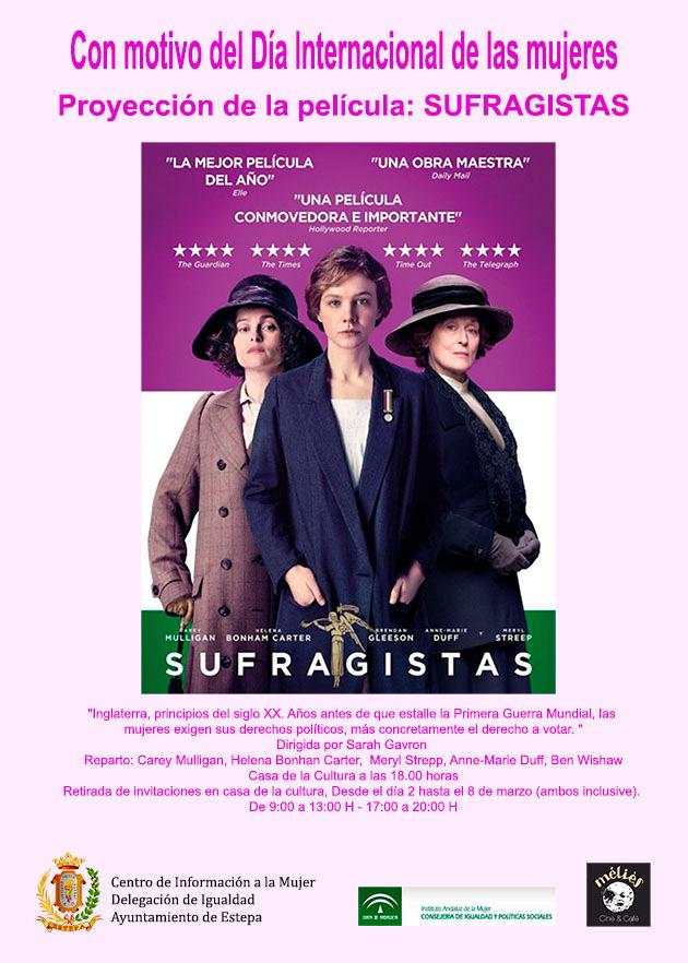 """Cine en Estepa con motivo del Día de la Mujer: """"Sufragistas"""""""