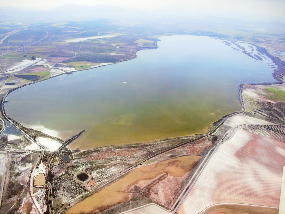 Vista aérea de la Laguna de Fuente de Piedra